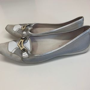 TOD's White Leather & Silver Ballet Flats 38 8